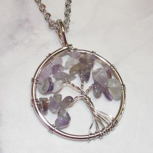 Amethyst Stone Chip Tree of Life Pendant Necklace